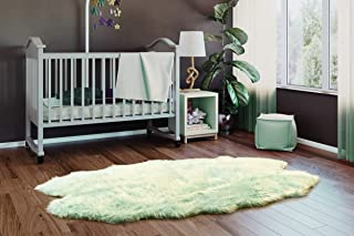 Super Area Rugs Silky Shag Rug Faux Fur Sheepskin Rugs in Mint Green, 4' x 6' Sheepskin Pelt