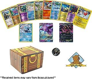 Pokemon Shiny Foil Treasures 20 Card Bundle - 17 Holo Foils - 1 Holo Rare - 1 GX - 1 EX - 1 Collectible Pokemon Coin! Includes Golden Groundhog Treasure Chest Storage Box!