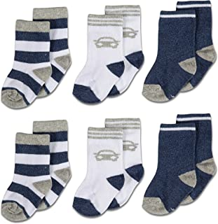 Cotton Baby Crew Socks, Cars and Stripes for Boys or Girls Sizes Newborn Infant to Toddler, 6-Pack, by Cutie Bebe
