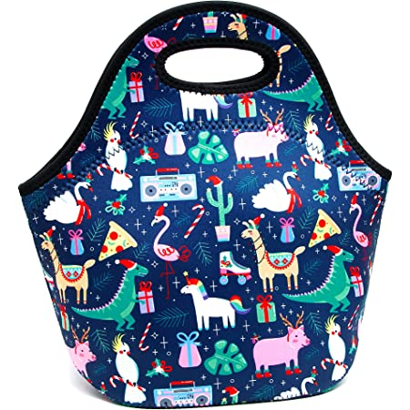 YOUBDM Neoprene Lunch Bags Thermal Insulated Lunch Tote Bag Reusable Washable Neoprene Picnic Bag for Women Men (Dinosaur cartoons)
