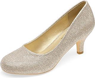 Women's Low Heels Closed Toe Pumps Kitten Bridal Wedding...