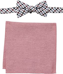 Gingham and Oxford Pre-Tied Bow Tie and Pocket Square Set