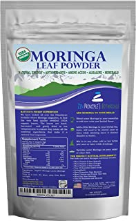 1 lb. Premium Organic Moringa Oleifera Leaf Powder. 100% USDA Certified. Sun-Dried, All Natural Energy Boost, Raw Superfood and Multi-Vitamin. No GMO, Gluten Free. Great in Green Drinks, Smoothies.