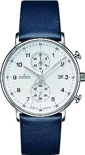 Junghans Form C Chronscope Quartz Matt Silver Watch   Blue Calfskin 041/4775.00