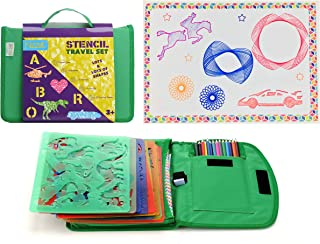 Kids Stencil Drawing Art Set with Colored Pencils, Templates, Sharpener and Bonus Spiralgraph Stencil Kit