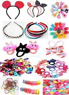 UMANSHI CREATIONS Hair Accessories Combo Hair clips, Hair Bands, Claw Clips Hair Elastic ponytail holder for Baby girls an...
