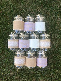 Lace and Burlap and Lace Sleeves for Mason Jars, Burlap and Twine, Sleeves and Twine Only, Jars NOT included, Set of 10