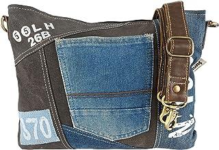Sunsa Damen Tasche Umhängetasche Handtasche, kleine nachhaltige Bag aus recycelter Jeans und Canvas, Vintage Design Teenag...