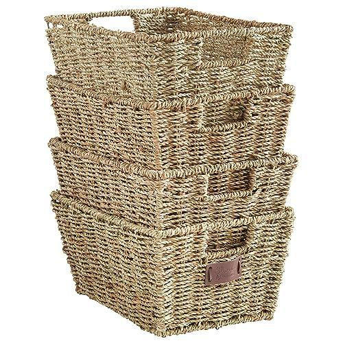 Brown Wicker Storage Basket w// Built-in handles Set of 3