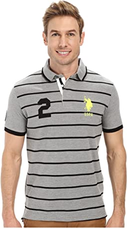 Slim Fit Stripe and Solid Pique Polo
