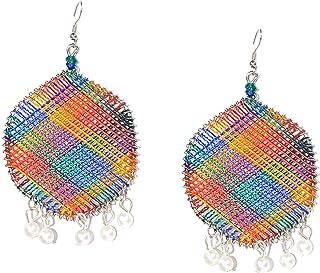 Frolics India Designer Big Hexagon Thread With Hangings Pearls Oxidised Earrings
