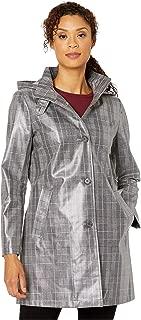 LAUREN RALPH LAUREN Laminated Plaid Raincoat Black/Red/White Plaid MD
