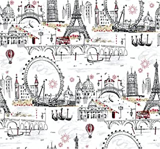 York Wallcoverings Tres Chic Euro Scenic Removable Wallpaper, White/Black/Red