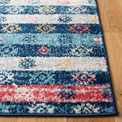 Safavieh Madison Collection MAD773M Boho Stripe Distressed Non-Shedding Stain Resistant Living Room Bedroom Area Rug 4' x 6' Navy/Ivory
