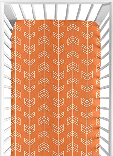 Sweet Jojo Designs Fitted Crib Sheet for Orange and Navy Arrow Baby/Toddler Bedding Set Collection - Arrow Print