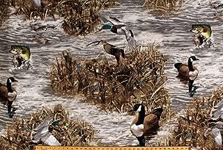 Fleece Realtree Camo Ducks Fish Geese Hunting Wildlife Water Marsh Camouflage Fleece Fabric Print by The Yard (A505.36)