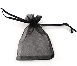 ATCG 200pcs 4x6 Inches Drawstring Organza Pouches Wedding Party Jewelry Favor Gift Candy Bags (Black)