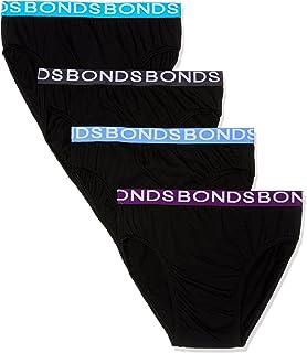 Bonds Men's Underwear Cotton Hipster Brief (4 Pack), Blues, M