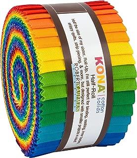 Kona Cotton Solids Bright Rainbow Half Roll 24 2.5-inch Strips Jelly Roll Robert Kaufman HR-156-24