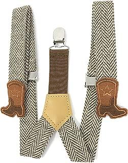 Cowboy Boot Adjustable Suspenders, Infant Toddler Boys, Brown Herringbone