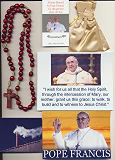 Burnt Red Wooden Rosary Blessed by Pope Francis I on 3/14/2013 at 1st Mass Given by Him at Vatican's Sistine Chapel also Includes Photographs of Mass and Photos of the Conclave the Day Before 15 Inches Long