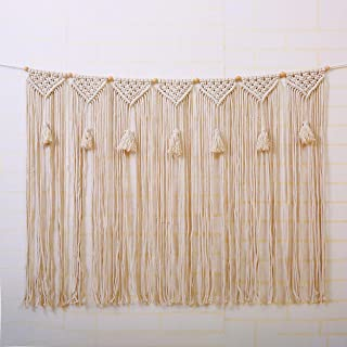 laddawan Macrame Wall Hanging Wall Tapestry Large Bohemian Wall Decoration for Wedding Backdrop Curtain Fringe Garland Banner Bedroom Living Room Gallery Baby Nursery 40