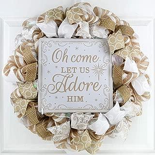 O Come Let Us Adore Him Wreath | Religious Christmas Mesh Front Door Wreath; White Burlap Jute