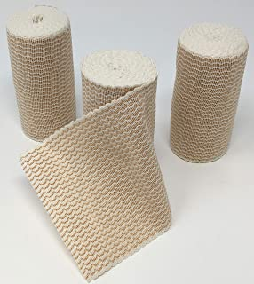 Elastic Bandage with Hook and Loop Closure (No Clips Needed) (Pack of 3) (4-inch)