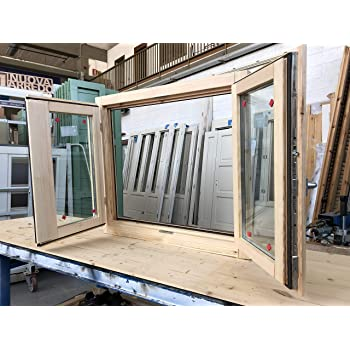 Ventana de madera laminada en bruto 50 x 70 cm - Doble cristal - Manija - Levada - Lista para ser barnizada de cualquier color: Amazon.es: Bricolaje y herramientas