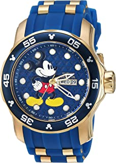 Men's Disney Limited Edition Stainless Steel Quartz Watch with Silicone Strap, Blue, 26 (Model: 23764)