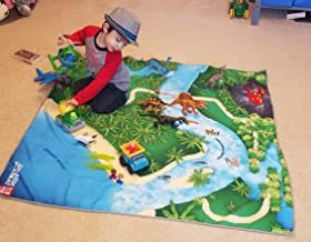 """Toy Dinosaur Play Mat for Toy Animals  Jurassic PlayMat   Foldable Solution  Large Size 54"""" x 54""""   Multiple Habitats for All Toy Creatures   Activity Rug   by Toy Fish Factory"""