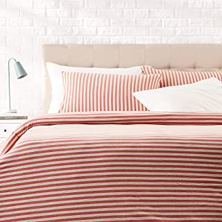 AmazonBasics - Juego de funda nórdica para edredón, diseño de rayas, 200 x 200 cm / 50 x 80 cm, Rojo Claro