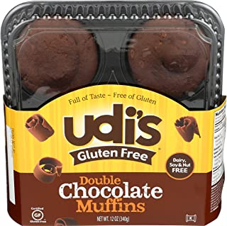 Udis Gluten Free Foods, Muffins Double Chocolate Gluten Free, 12 Ounce, 4 Pack