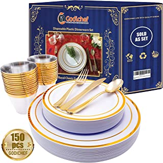 150 Premium Plastic Plates, Dinnerware & Cups Set - Disposable white & gold rimmed plastic dinner plates, salad plates with spoons, forks, knives & cups for Wedding & Party, Reusable plastic tableware