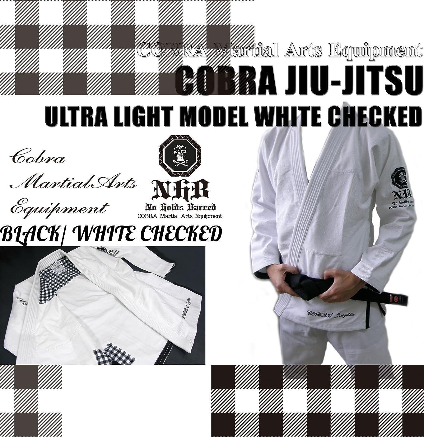 すすり泣き爆発批判的に柔術着 COBRA JIU-JITSU GI ULTRA LIGHT MODEL CHECK WHITE