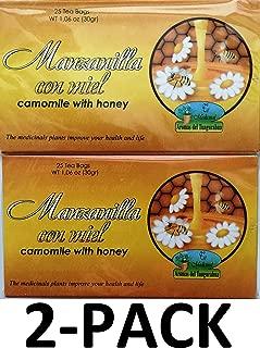 Manzanilla Té Con Miel. 25 Tea Bags. Camomile Tea with Honey. 2-PACK (50 Tea bags Total)