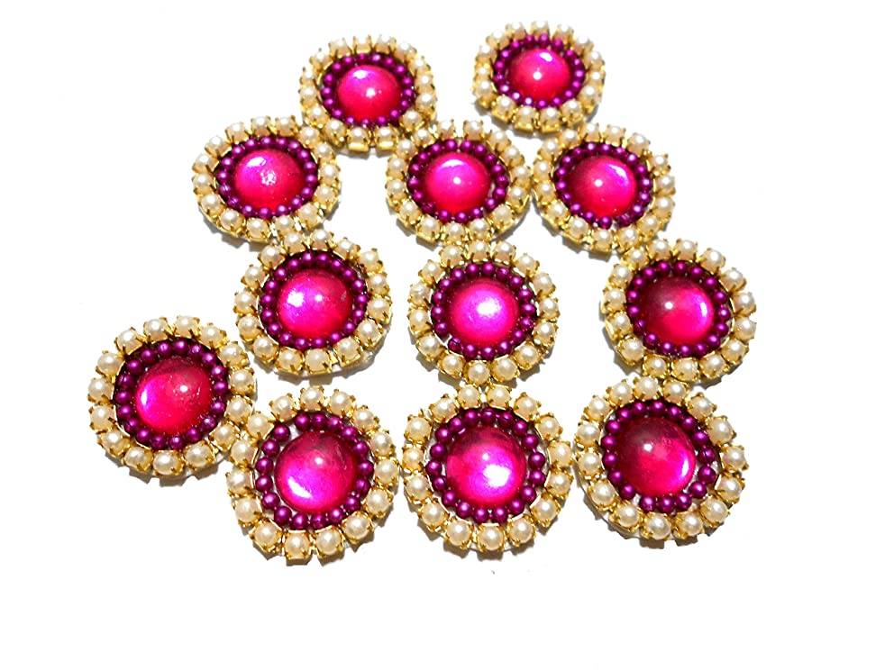Goelx Pearl Patches Colorful Round Shape Handmade Appliques Embellishments for Decoration, Crafts Ideas, Jewelery Making, Easy to Use Pack of 50 - Pink (15mm)