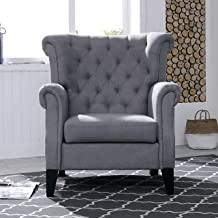 Mid-Century Modern Accent Fabric Arm Chair Comfy Upholstered Single Sofa for Living Room Furniture, Gray(Style2)
