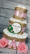 3 Tier Diaper Cake - Boho Chic Diaper Cake Burlap, Floral Hoop (Pink, Light Baby Blue and Turquiose Options)