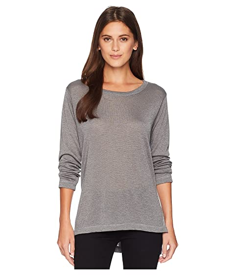 NALLY & MILLIE Long Sleeve High-Low Tunic With Side Slits, Steel