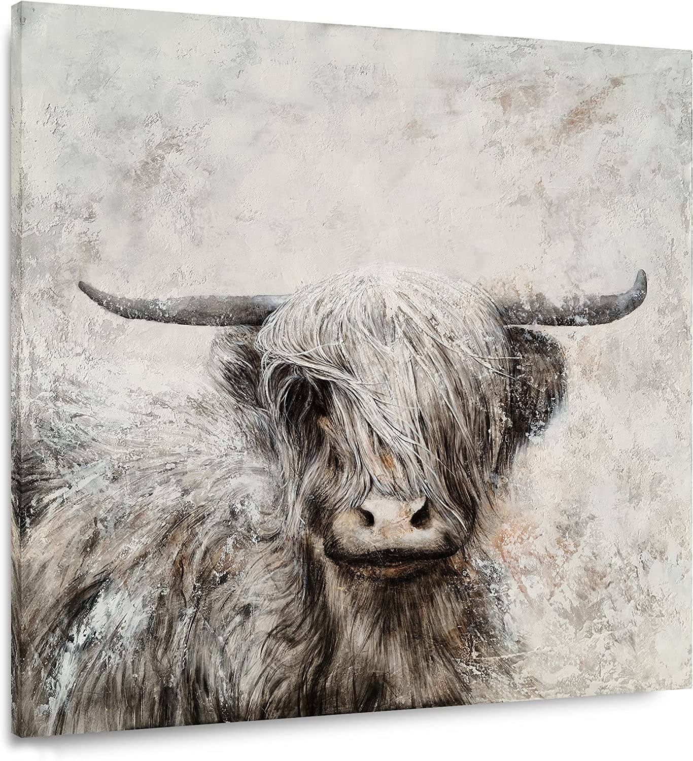 Yihui Arts Max 72% Manufacturer regenerated product OFF Highland Cow Canvas Wall Painted Art Hand Lovely Wild