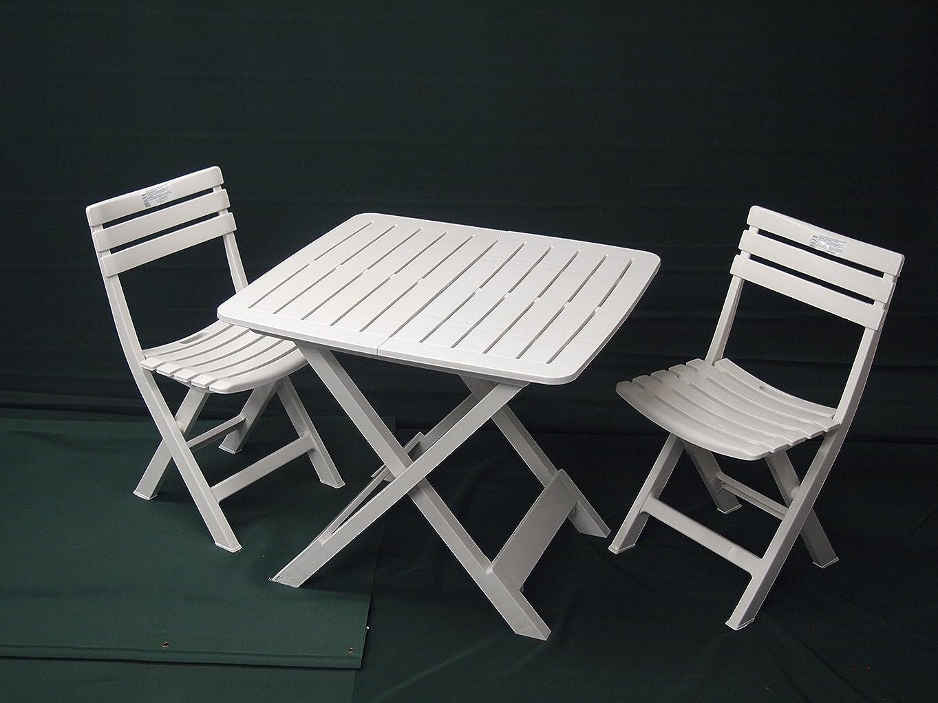 キャラバン幸運タイマーIPAE-PROGARDEN イタリア製ガーデンテーブルセット TEVERE&BIRIKI ホワイト