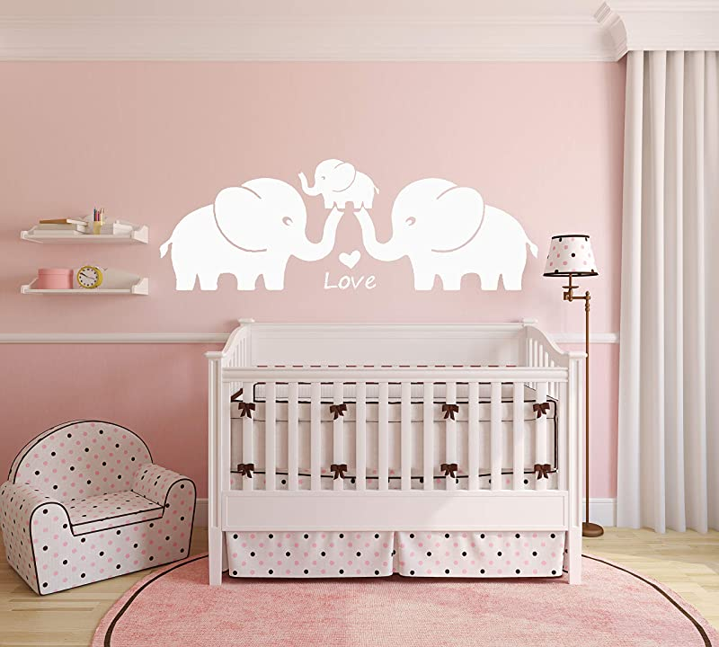 MAFENT Three Cute Elephant Family Wall Decal With Love Hearts Quote Art Baby Or Nursery Wall Decor Bedroom Decoration White Large