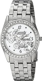 Disney Women's Beauty Analog-Quartz Watch with Stainless-Steel Strap, Silver, 20 (Model: WDS000314)