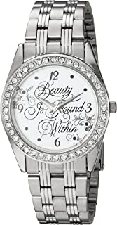 Disney Women's Beauty Analog-Quartz Watch with Stainless-Steel Strap, Silver, 20 (Model: WDS000314)