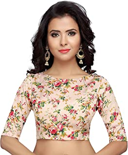 Studio Shringaar Women's Poly Satin Floral Print Readymade Blouse for Saree with Boat Neck and Elbow Length Sleeves