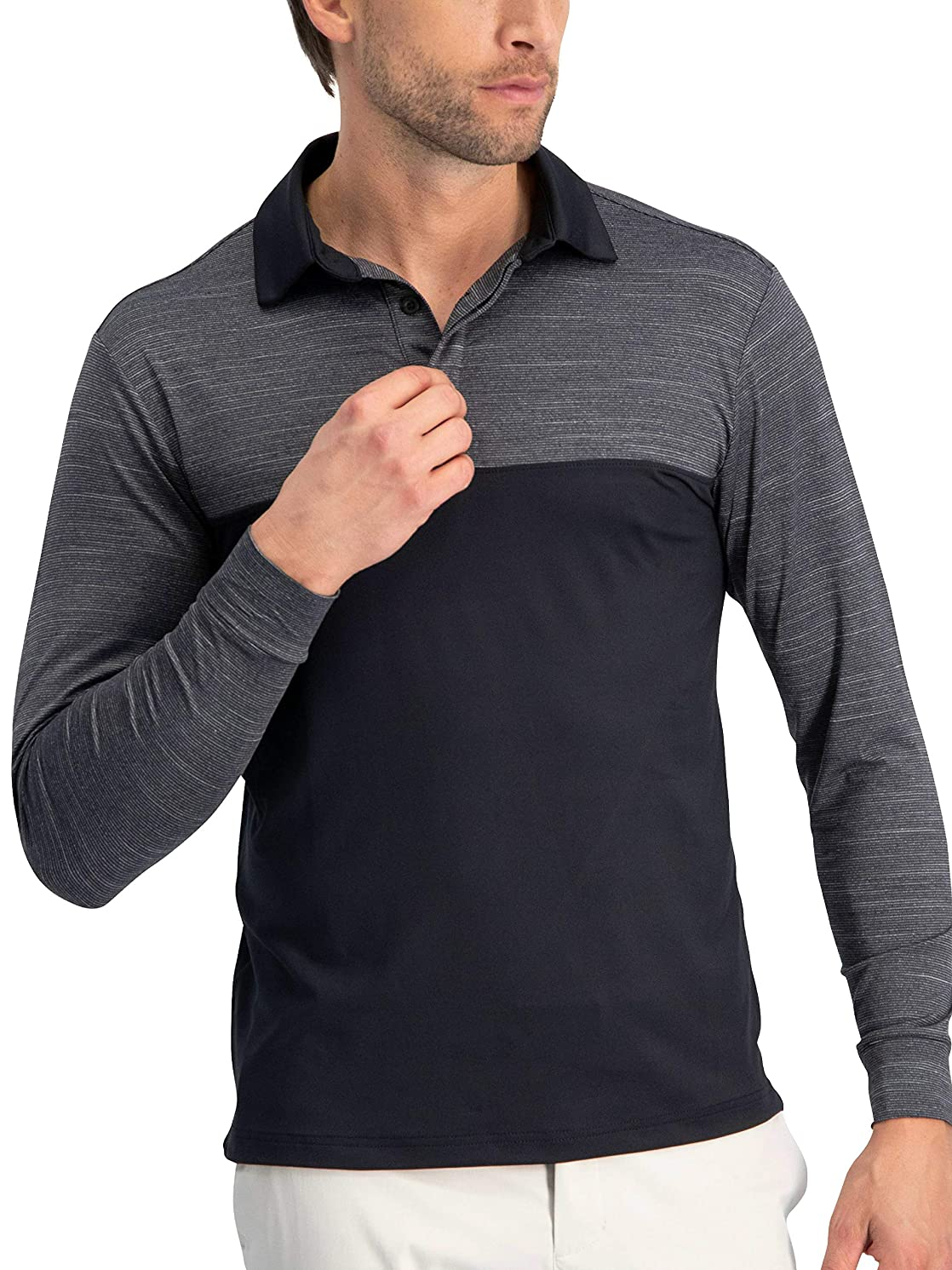 Three Sixty Six Long Sleeve Polo Shirts for Men - Men's Long Sleeve Golf Polos - Dry Fit Fabric