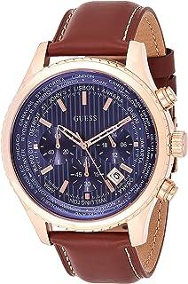 Guess Watch W0500G1 - Orologio da uomo con cronografo, cinturino in pelle marrone, quadrante blu