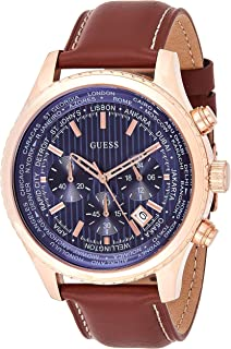 Guess Mens Quartz Watch, Analog Display and Leather Strap W0500G1