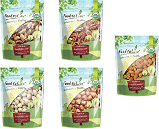 Organic Supreme Nuts in a Gift Box - A Variety Pack of Pecans, Macadamia Nuts, Almonds, Hazelnuts and Brazil Nuts